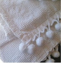 Vintage Shabby White Rose Pattern Chic Chenille Bedspread